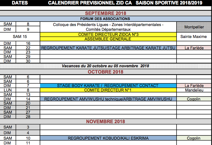 Calendrier Ffkda 2019 2020.Calendrier Ffkda Previsionnel Dojo De Vallauris Judo